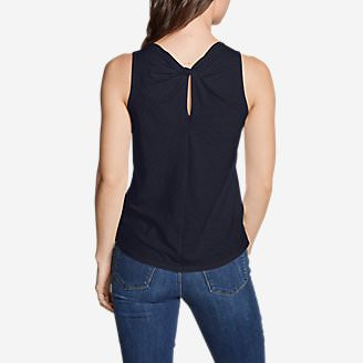 Women's Gate Check Twist-Back Tank Top - Solid in Blue