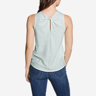 Women's Gate Check Twist-Back Tank Top - Solid in Green