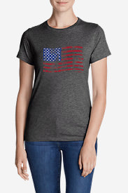 Women's Graphic T-Shirt - Classic Flag in Gray