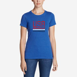 Women's Graphic T-Shirt - Red, White, and Blue in Blue