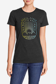 Women's Graphic T-Shirt - Pacific Northwest Sunset in Black