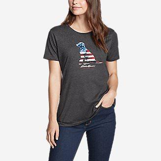 Women's Graphic T-Shirt - USA Dog in Gray