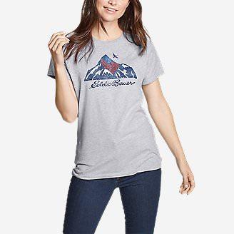 Women's Graphic T-Shirt - USA Mountain in Gray