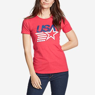 Women's Graphic T-Shirt - Retro USA Star in Red