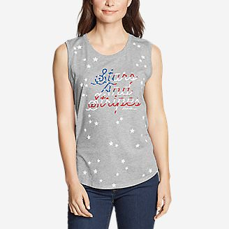 Women's Graphic Tank Top - Stars and Stripes in Gray