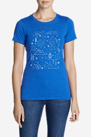 Women's Graphic T-Shirt - Winter Emojis in Blue