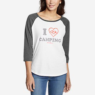 Women's Graphic T-Shirt - I Heart Camping in White