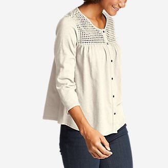 Women's Lola 3/4-Sleeve Eyelet Button-Down Shirt in White