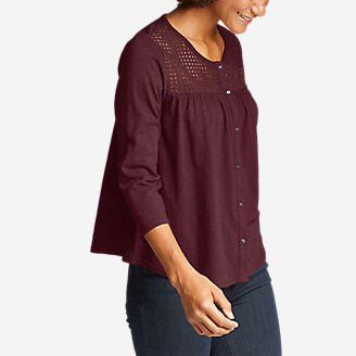 Women's Lola 3/4-Sleeve Eyelet Button-Down Shirt in Red