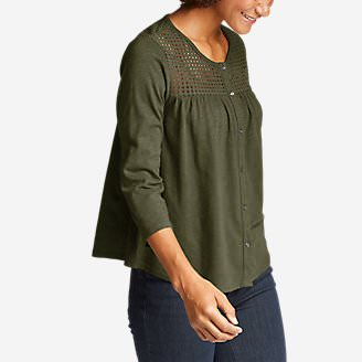 Women's Lola 3/4-Sleeve Eyelet Button-Down Shirt in Green