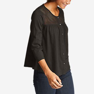 Women's Lola 3/4-Sleeve Eyelet Button-Down Shirt in Beige