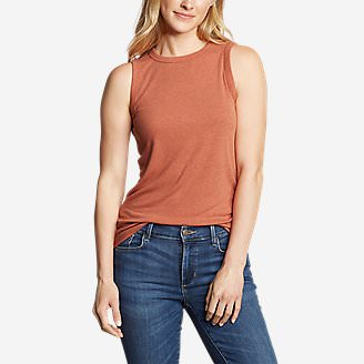 Women's Ribbed Tank Top - Solid in Orange
