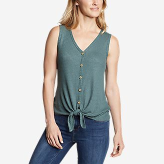 Women's Thermal Tie-Front Tank Top in Green