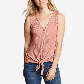 Women's Thermal Tie-Front Tank Top in Red