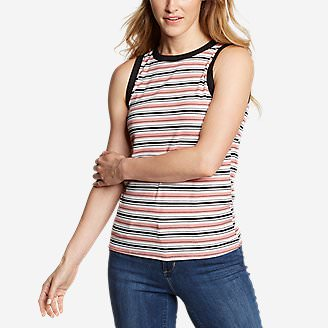 Women's Ribbed Tank Top - Stripe in Red