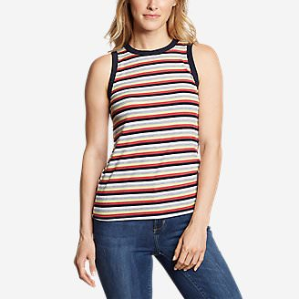 Women's Ribbed Tank Top - Stripe in Yellow
