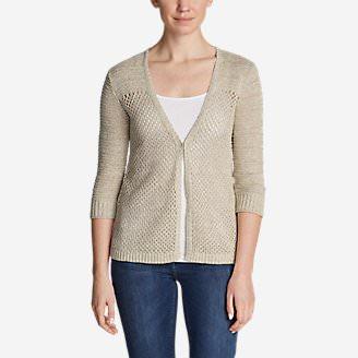 Women's Beachside Swing Cardigan Sweater in White
