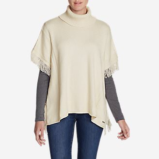 Women's Pine Cone Poncho Sweater - Solid in Beige