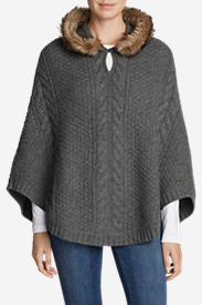 Women's Cable Fable Poncho Sweater in Gray