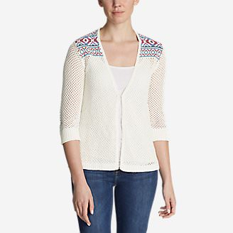 Women's Beachside Cardigan Sweater - Pattern in White