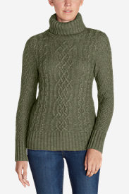 Women's Cable Fable Turtleneck Sweater in Green