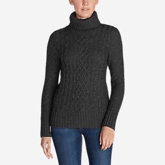 Women's Cable Fable Turtleneck Sweater in Gray
