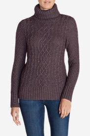 Women's Cable Fable Turtleneck Sweater in Purple
