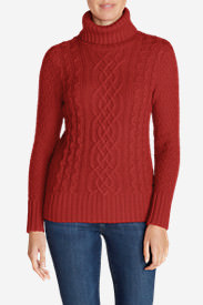 Women's Cable Fable Turtleneck Sweater in Red