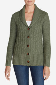 Women's Cable Fable Cardigan Sweater in Green