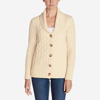 Women's Cable Fable Cardigan Sweater in Beige