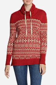 Women's Geometric Jacquard Pullover Sweater in Red