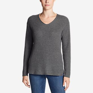 Women's Christine Rib V-Neck Sweater in Gray