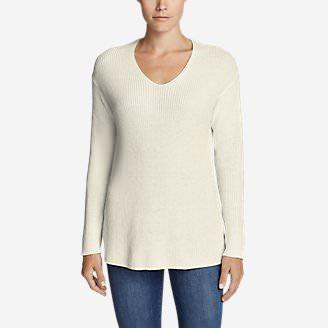 Women's Christine Rib V-Neck Sweater in White
