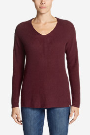 Women's Christine Rib V-Neck Sweater in Red
