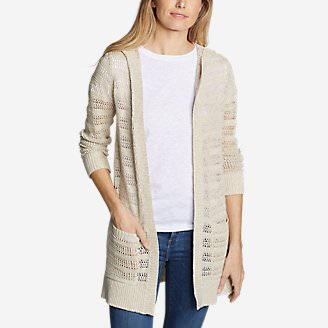 Women's Sandshore Hooded Cardigan Sweater in White