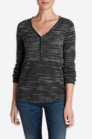 Women's Sweatshirt Sweater Henley - Space Dye in Gray