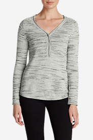 Women's Sweatshirt Sweater Henley - Space Dye in Gray