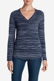 Women's Sweatshirt Sweater Henley - Space Dye in Blue