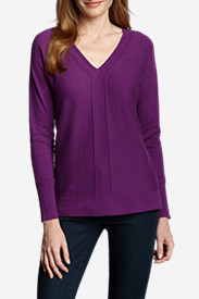 Women's Christine V-Neck Pullover Sweater - Solid in Red