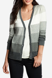 Women's Christine V-Neck Cardigan Sweater - Stripe in Gray