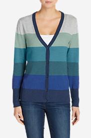Women's Christine V-Neck Cardigan Sweater - Stripe in Green