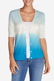 Women's Christine Dip-Dye V-Neck Cardigan Sweater in Blue
