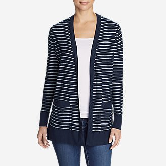 Women's Christine Boyfriend Cardigan Sweater - Stripe in Blue