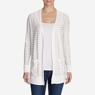 Women's Christine Boyfriend Cardigan Sweater - Stripe in White
