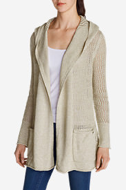 Women's Beachside Hoodie Cardigan Sweater in White