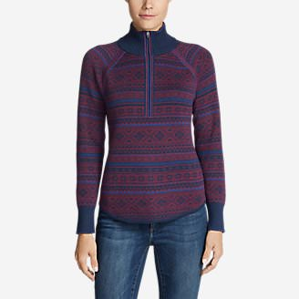 Women's Engage Fair Isle 1/4-Zip Sweater in Purple