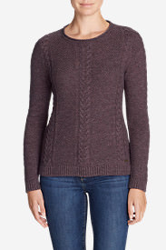 Women's Cable Fable Crew Sweater in Purple