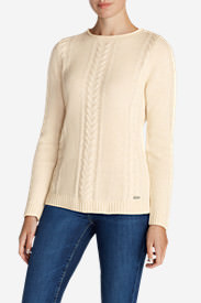 Women's Cable Fable Crew Sweater in Beige