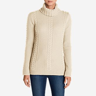 Women's Cable Fable Turtleneck Sweater in Beige