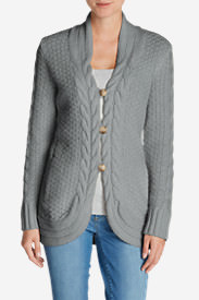 Women's Cable Fable Cardigan Sweater in Gray